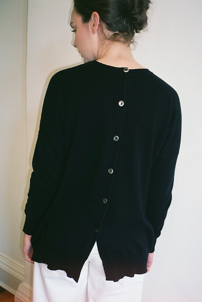 Button Back Sweatshirt Black