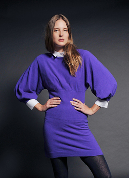 Horizontal Crew Tunic Dress with Deep Ribbed Waist