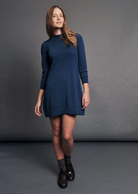 A-Line Crew Tunic Dress with Button Back
