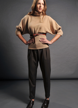 Horizontal Roll Neck with Deep Ribbed Waist