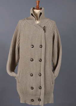 Chunky Fisherman Rib Double Breasted Cardigan Coat
